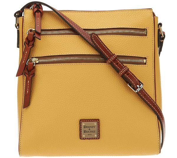 5dbd74a0447 Dooney   Bourke Pebble Leather Triple Zip Crossbody Handbag - Page 1 — QVC. com