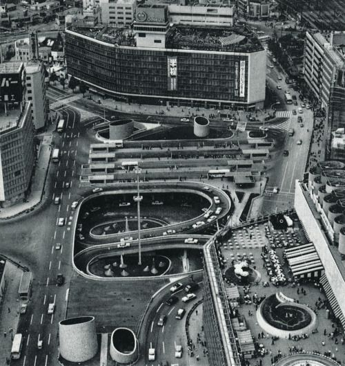The West Entrance to Shinjuku Station in Tokyo. 1970