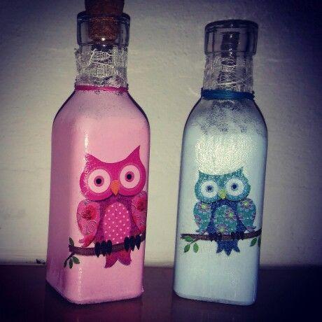 Small bottles decoupage