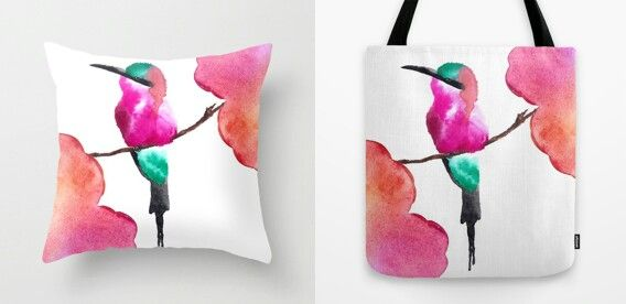 """Carmine bee eater"" Throw pillow and Tote bag by Amee Cherie Piek  Shop here:  www.society6.com/ameecheriepiek"