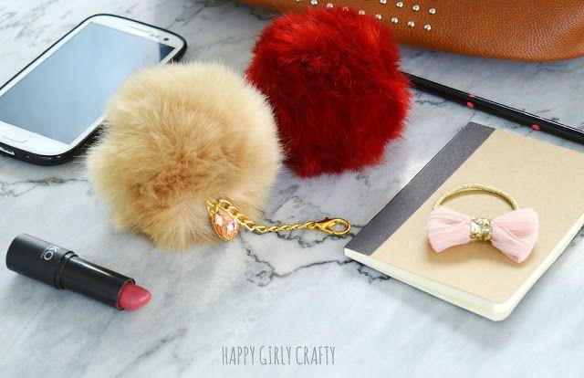 How to make a trendy faux fur pompom bag charm!