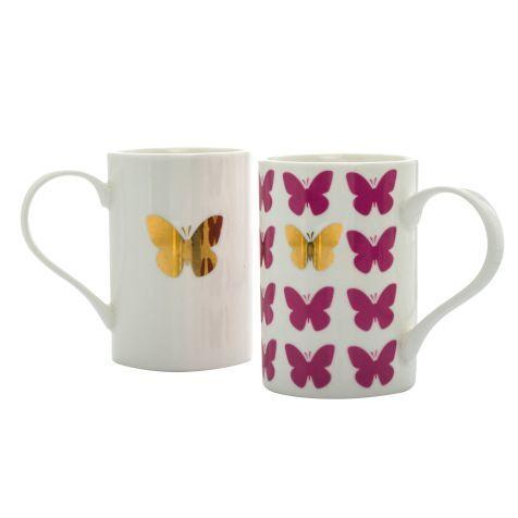 Porzellan-Becher-Set, 2-tlg., Papillon, Porzellan New Bone China Vorderansicht