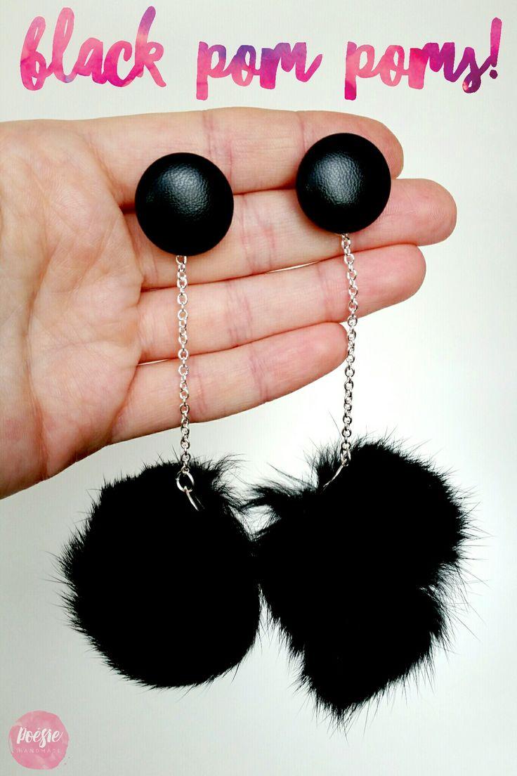 NEW! Poésie Faux Fur Pom Pom Earrings • www.poesiehandmade.com