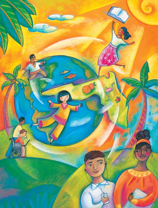 """""""Global Children"""" by illustrator Susan Tolonen, seen on Quirky Quill blog by me, Sharon Kirk Clifton. This blog is aimed at middle-grade writers and readers."""