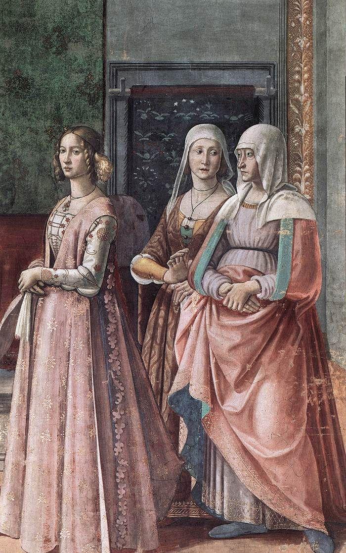 DOMENICO GHIRLANDAIO (1449 - 1494) - Birth of St John the Baptist, detail - 1486/90. Fresco | Cappella Tornabuoni, Santa Maria Novella, Florence.