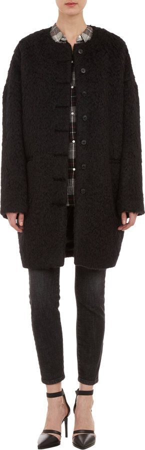 $1,195, Black Textured Coat: Nili Lotan Wool Cocoon Coat Black. Sold by Barneys New York. Click for more info: https://lookastic.com/women/shop_items/85247/redirect