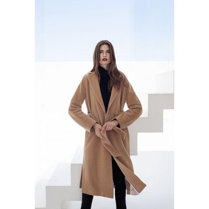 Długi płaszcz wiązany paskiem - PATRIZIA ARYTON