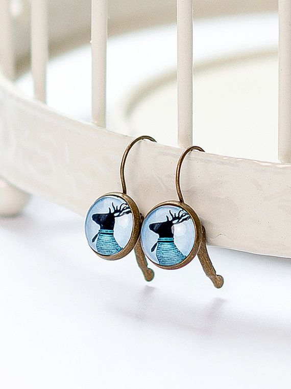 Deer Earring | Brass | French Earwires Hook | Earrings in metal brass with image under glass