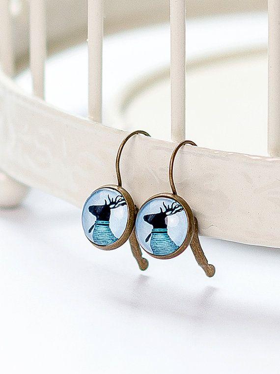 Deer Earring | Brass | French Earwires Hook | Earrings in metal brass with image under glass