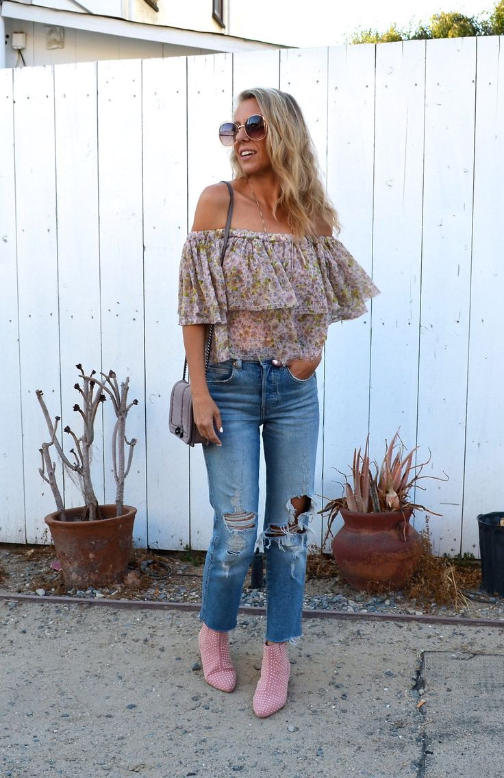 Styling Your Favorite Summer Top For Fall - Jaclyn De Leon Style +  floral ruffle OTS top with distressed crop denim + pink stud topshop  booties + neutral moto jacket + casual fall style + bohemian street  style look + outfit inspiration