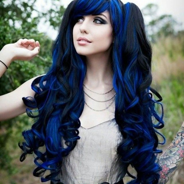 Long Deep Dark Blue Hair With Black Mixed In Dyed Color