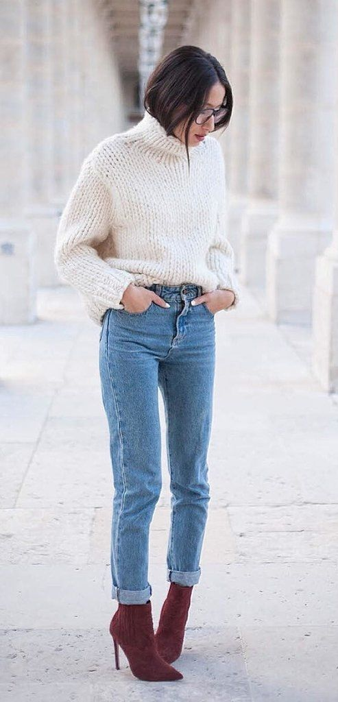 Turtleneck Tucked Into High-Waisted Jeans