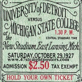 University of Detroit vs. Michigan State College Football Ticket, Oct. 29, 1927