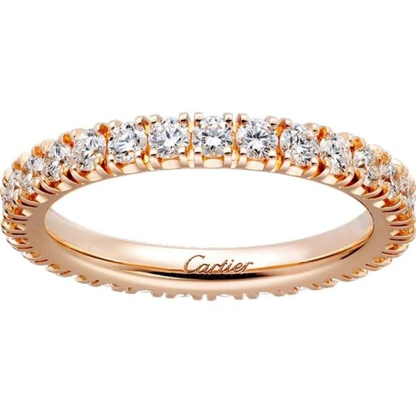 CARTIER Lignes 18ct pink-gold and diamond wedding band ($10,310) ❤ liked on Polyvore featuring jewelry, rings, brilliant cut diamond ring, wedding rings, diamond jewellery, diamond jewelry and brilliant diamond ring