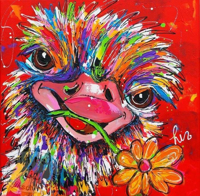 """Schilderij """" Struisvogel bloem """" 60 x 60"""
