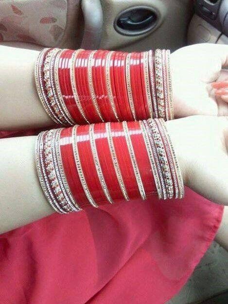 Red Bridal Chura.  Whatsapp For Purchase : +91 9416307694