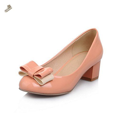 AmoonyFashion Women's Pull-on Kitten Heels PU Solid Round Closed Toe Pumps-Shoes, Pink, 37 - Amoonyfashion pumps for women (*Amazon Partner-Link)