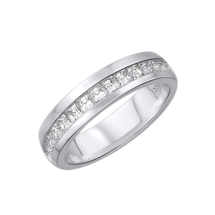 Snubní prsten. 15 Diamantů, princes výbrus, váha 0,38 ct., barva H, čistota SI2. Bílé Zlato 0,585. Výška 4,2 mm. Tloušťka 1,5 mm. K dostání taky další barvy zlata.