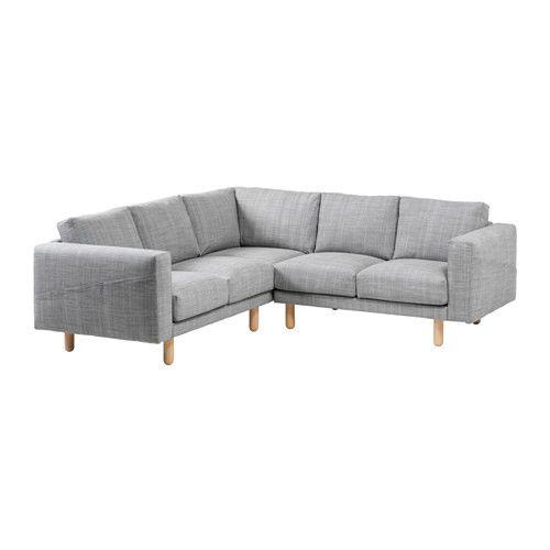 NORSBORG Hörnsoffa 2+2 - Isunda grå, björk - IKEA