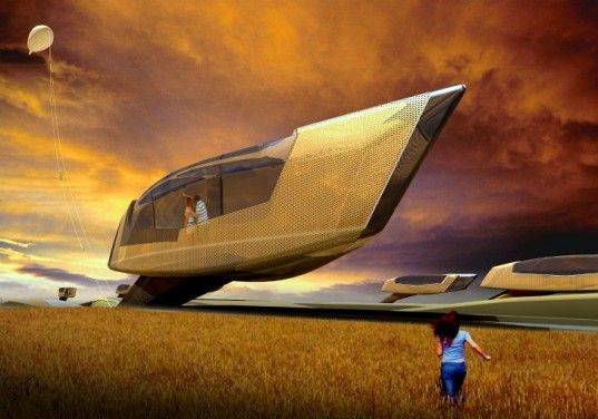 Hong Kong-based 10 Design proposes a tornado proof house that sinks into the ground at the first sign of a twister.