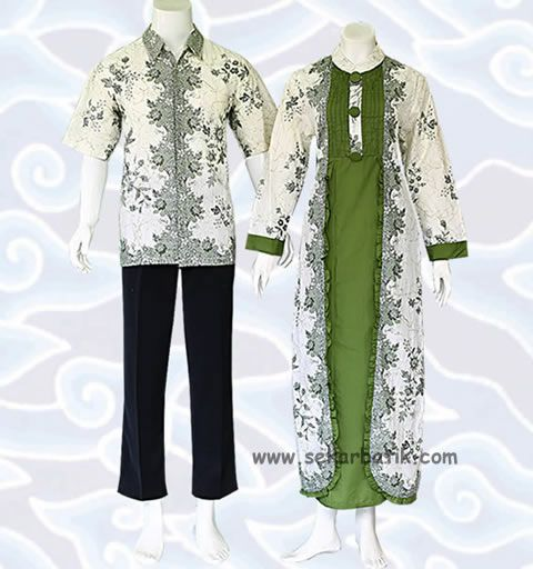 Gamis Batik Couple Modern Warna Putih Dan Toska Murah