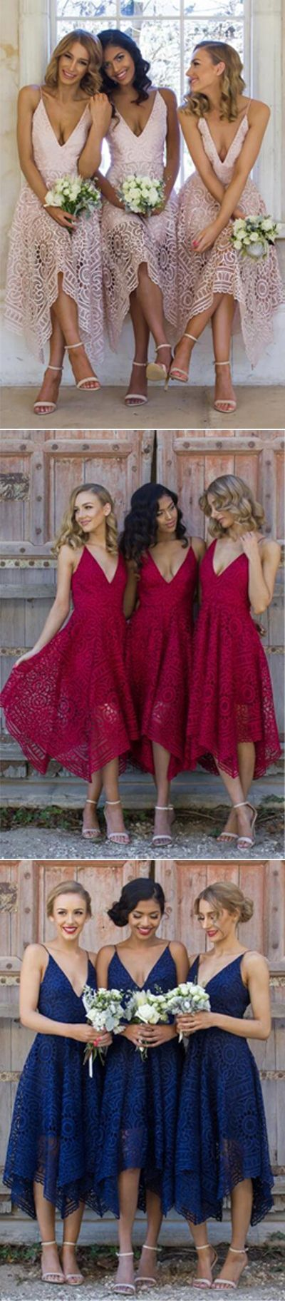 chic deep v-neck short lace bridesmaid dresses, boho fashion gowns, lace wedding party gowns. #bridesmaiddresses #Weddingsquotes
