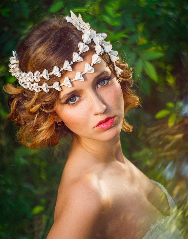 Chloris Ivory & Wisteria Bridal Headpiece Silk by PetiteLumiereCo kanzashi