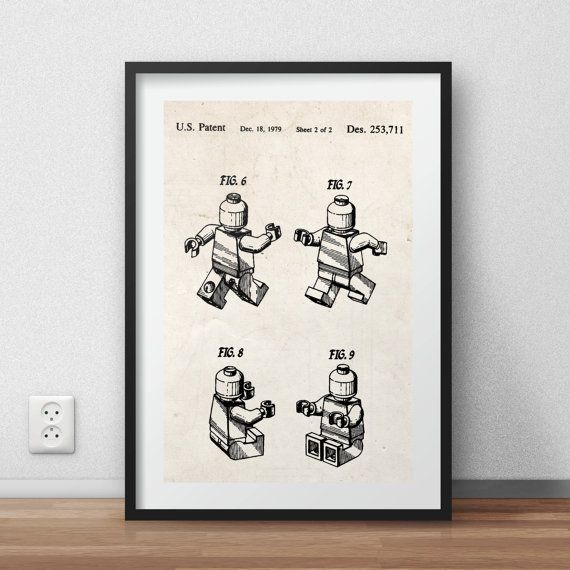 Lego man patent Poster - DIGITAL PRINTABLE poster - Instant DOWNLOAD - jpg-file - A4