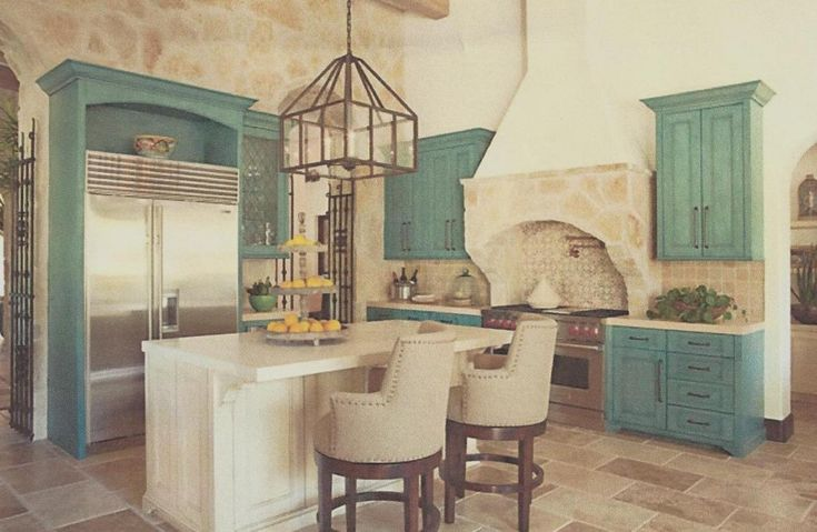 Old World kitchen in turquoise. Yes!