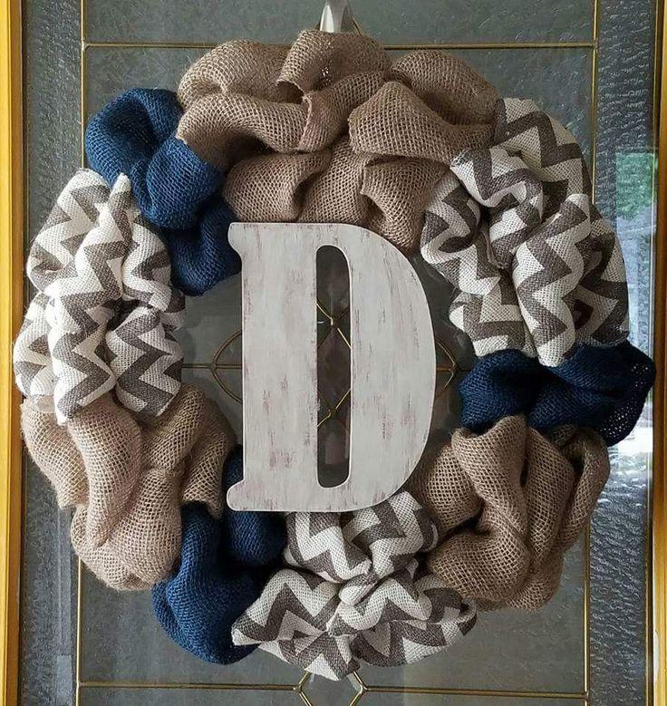 Burlap initial wreath by CountryMamaMarket on Etsy