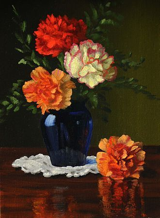 Christopher Pierce, Four Carnations, 2013, oil on canvas, 12 X 9 inches