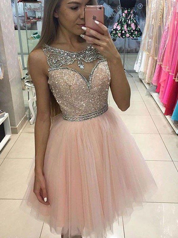A-Line / Princess Sleeveless Scoop Neck Beading Short / Mini Tulle Dresses
