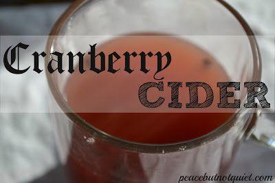 Cranberry Cider from Peace But Not Quiet. #cider #fallrecipes #recipes #cranberry