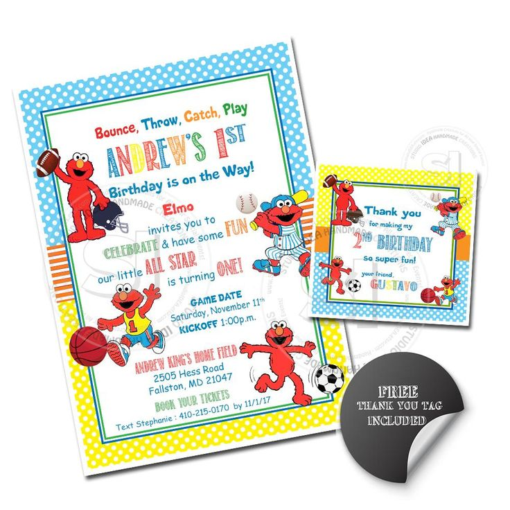 Custom Elmo Sports All Star Birthday Invitation with FREE matching Thank you Square Tag- Printable Sesame street Invitations-Personalized Birthday, Baby Shower-Digital File-YOU PRINT