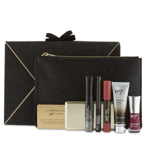 No 7 Midnight Beauty Capsule Collection   Christmas Gift - This No7 Uptown Beauty Capsule gift set is an invitation to create a glamorous after dark make-up look. This complete cosmetics collection is enclosed in an exquisite beaded evening clutch - perfect to take her through to the midnight hour this Christmas.