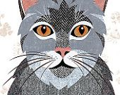 Grey Tabby Cat Greetings Card