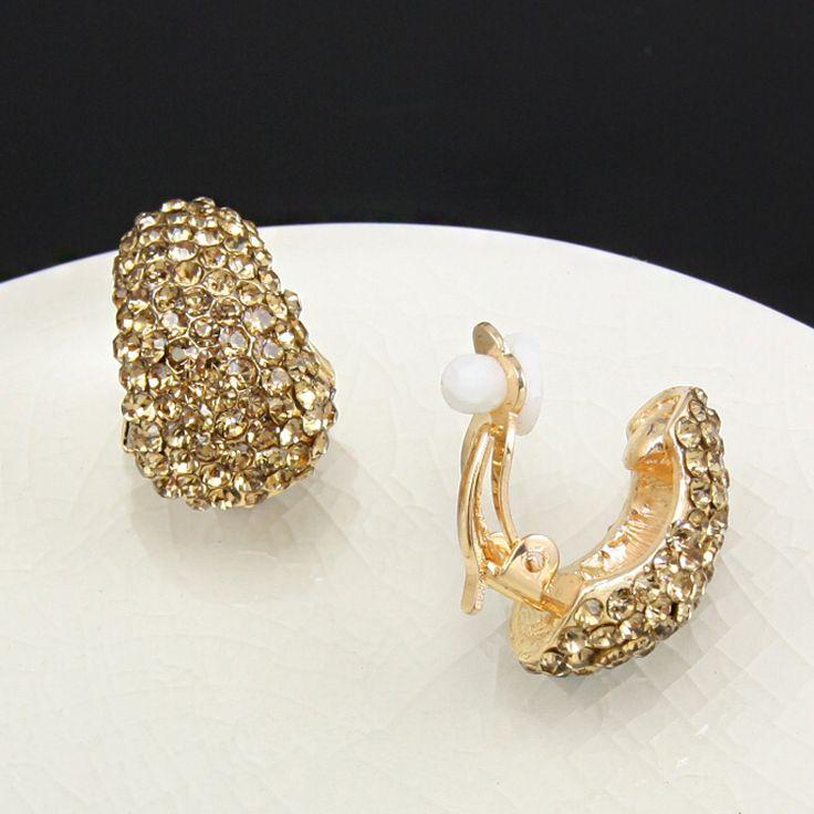 Chapado En oro Diamantes de Imitación Pendientes de Clip sin Perforar Cristal Clip de Oreja No Perforado Accesorios de Joyería de Moda brincos ersh11