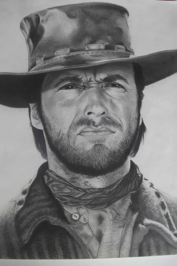 Clint Eastwood pencil drawing