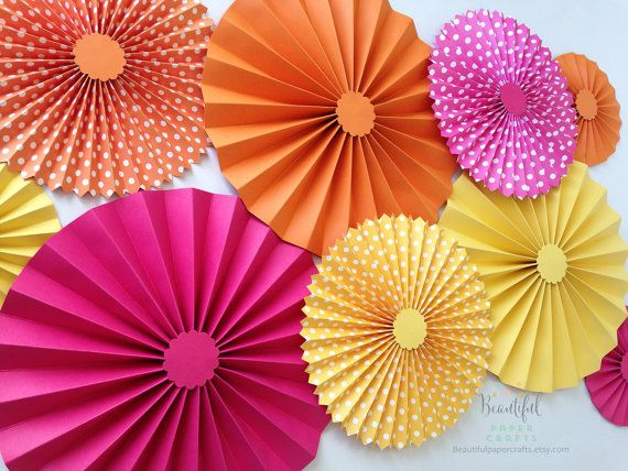 Set of 9 Summer Paper Fans | Luau Party Backdrop | Hot Pink, Yellow & Orange Paper Rosettes | Summer Pool Party | Summer Birthday Party |