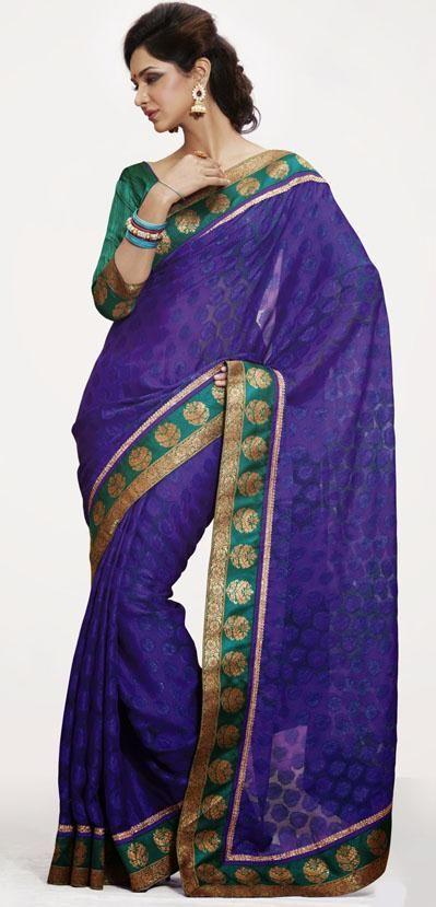 $75.31 Purple Jacquard Saree 25486