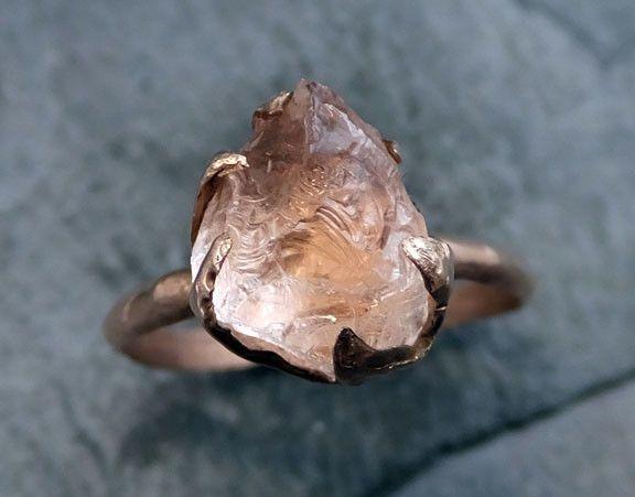 Raw Rough Morganite 14k Rose gold Ring Gold Pink Gemstone Cocktail Ring Statement Ring Raw gemstone Jewelry by Angeline
