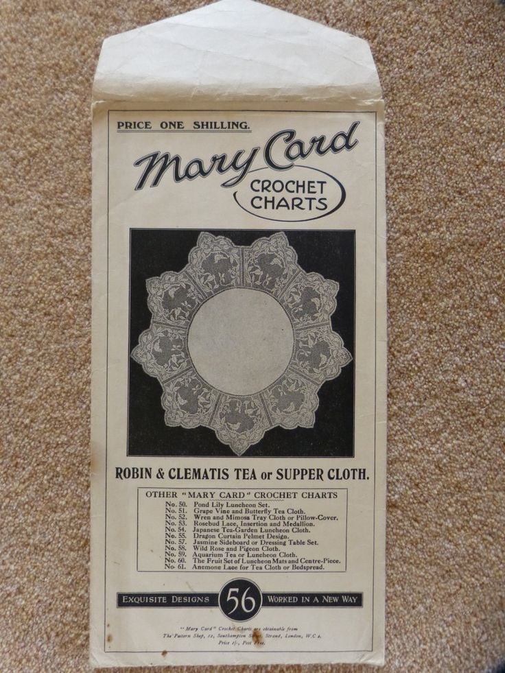 Robin and Clematis Tea or Supper Cloth. Original Mary Card Crochet Chart No. 56