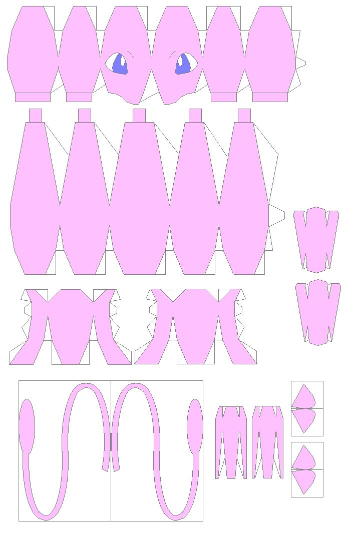 Pokemon Papercraft Templates Jetlogs Org Mew Papercraft Paper