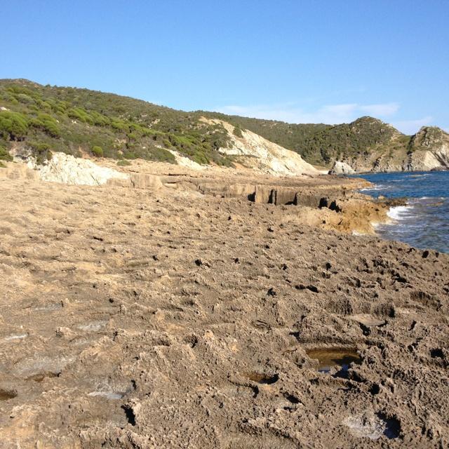 Detail of basaltic coast of Teulada