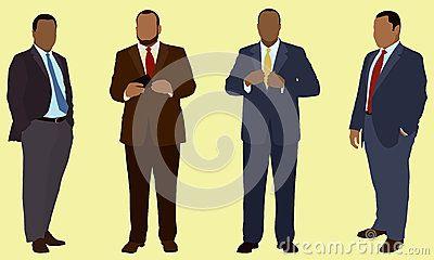 Hombres de negocios negros o afroamericanos que son sistema gordo o gordo o pesado. Están llevando el traje y el lazo