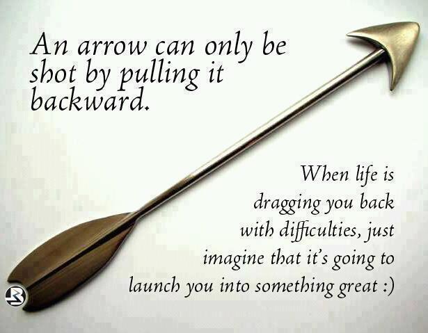 矢は後ろに引いて初めて射ることができる。  人生があなたを困難へと引き込もうとするときは、それは素晴らしいところへあなたを連れて行こうとしているのだと思いなさい