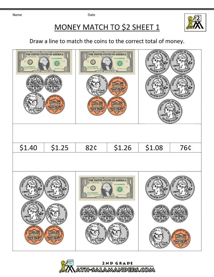 money worksheets for 2nd grade free printable money worksheets money match to 2 dollars 1. Black Bedroom Furniture Sets. Home Design Ideas