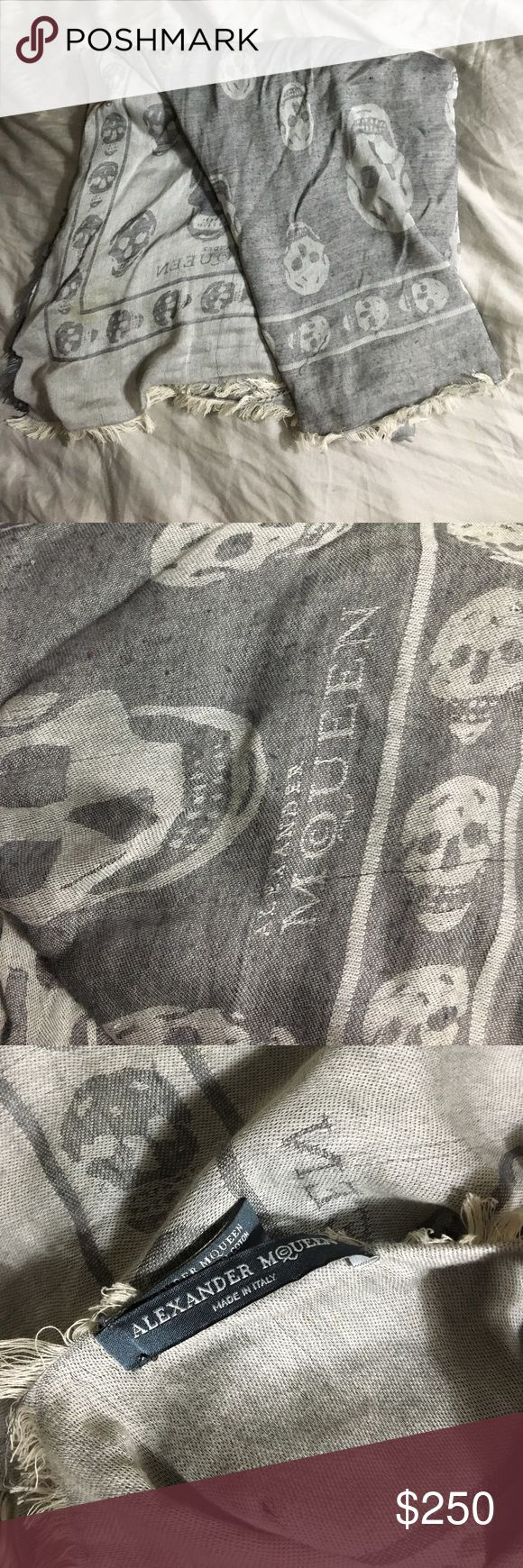 Alexander McQueen Skull Scarf Grey Large Cotton Viscose Pashmina Scarf Alexander McQueen Accessories Scarves & Wraps