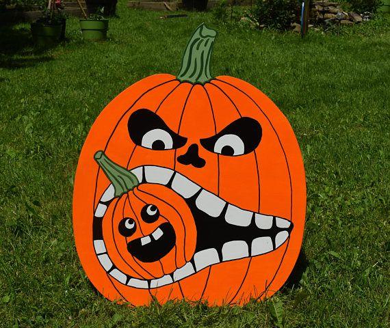 Large Halloween Pumpkin Garden Stake, Jack O Lantern Yard Sign, Pumpkin Lawn Stake, Halloween Yard Art, Halloween Outdoor Decor, Yard Stake