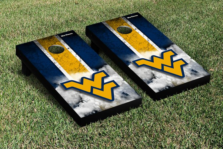 WVU Cornhole Game Set - Choose from 10 designs, including football, basketball, and a mini game set for your desk.